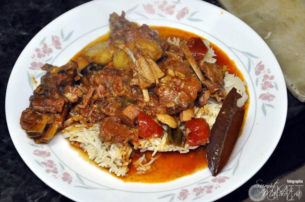 Jhatpat Indian Mutton Curry Served with Rice