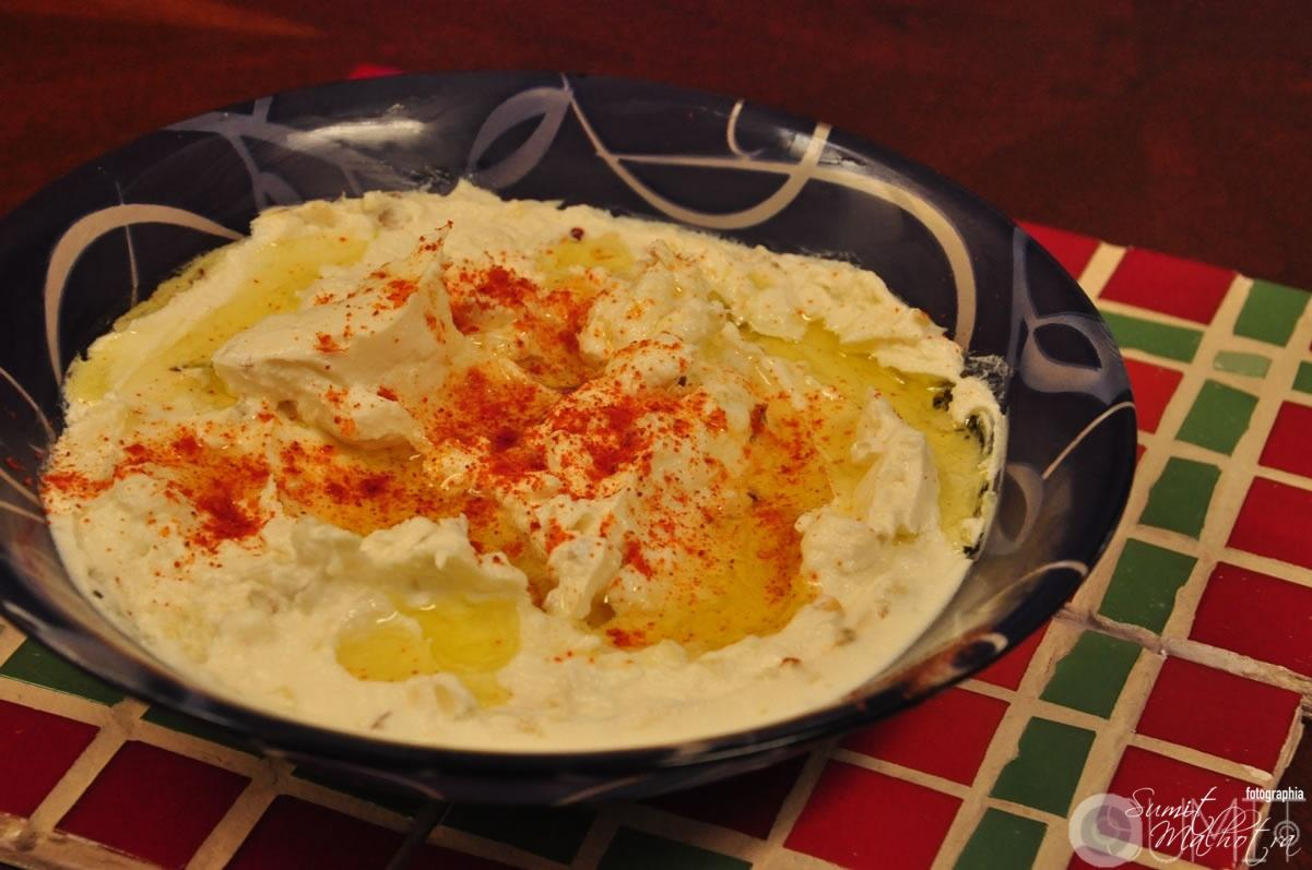 Homemade Labneh Recipe - Labneh Ready & Plated with Pimento & Za'atar.