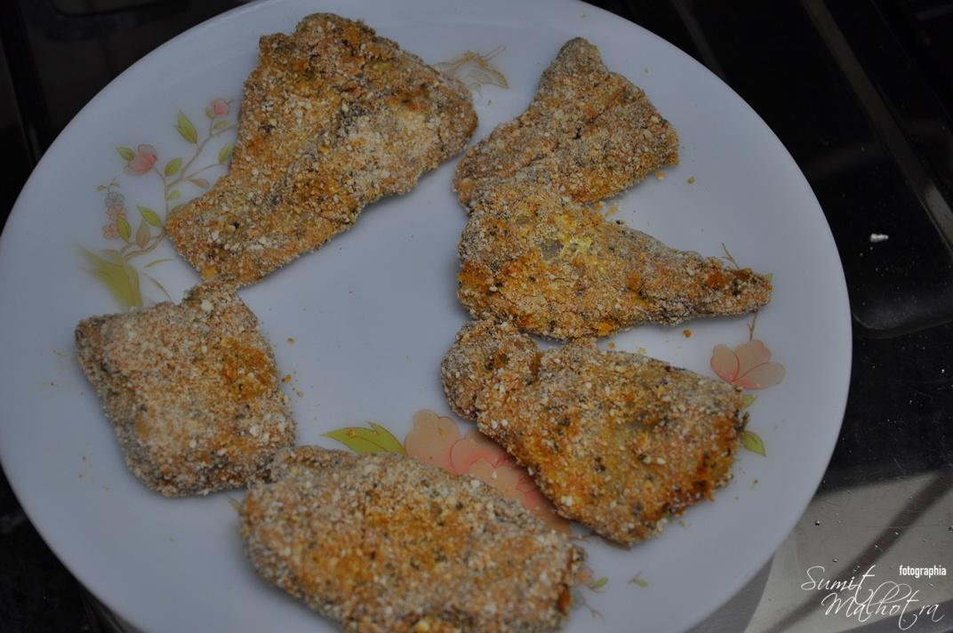 Crumbed fish for Fried Fish Ajwaini