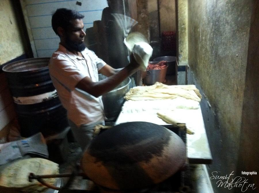 Roomali Roti being made at Changezi Chicken Karol Bagh