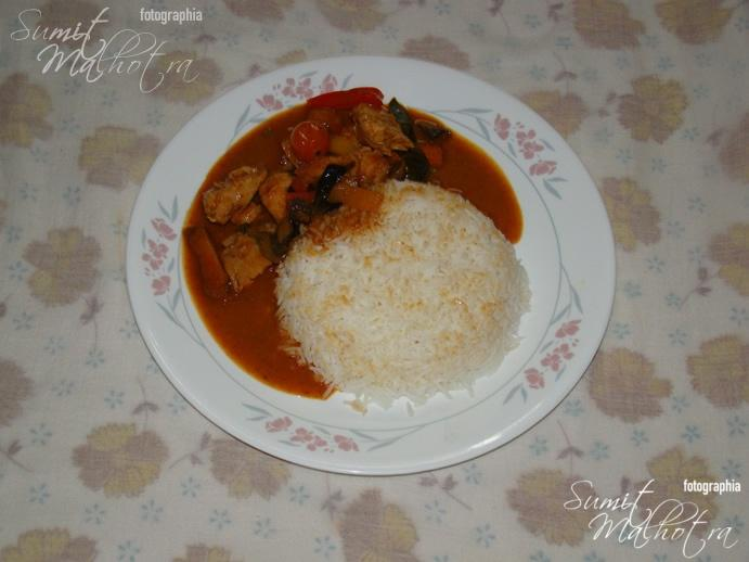 The fiery Thai Chicken in Red Curry with Rice