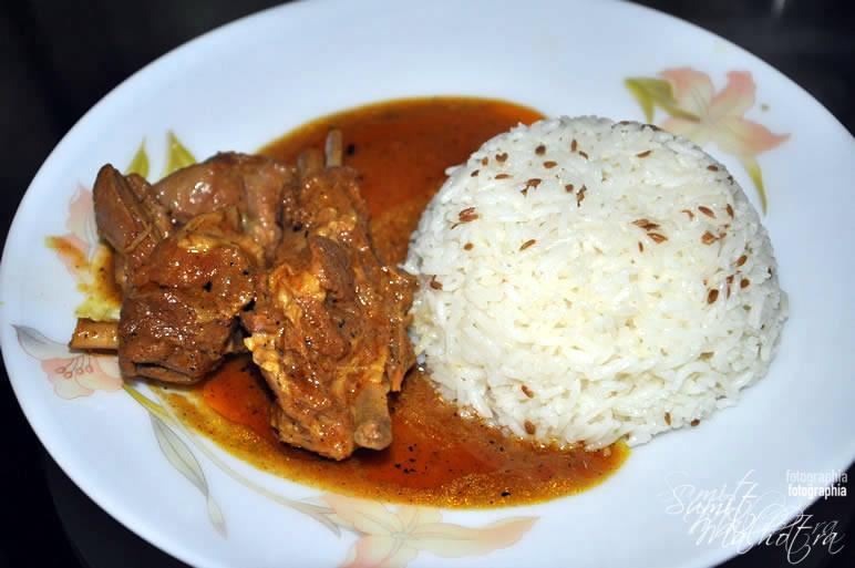 Serve spicy mutton curry with basmati rice
