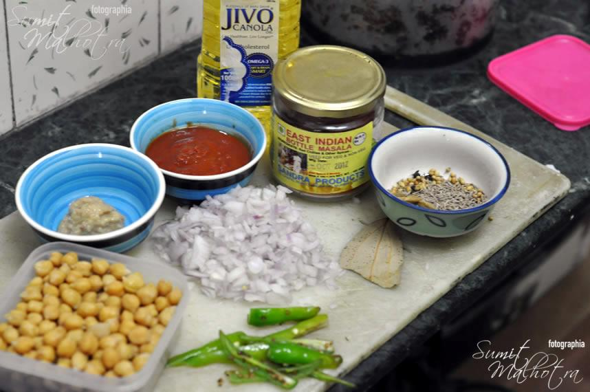 All Ingredients for East Indian Bottle Masala Chole