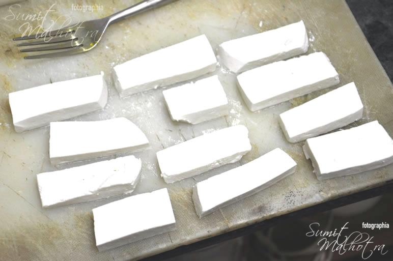 Cut chaman or paneer in rectangles