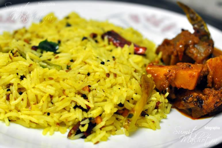 Lemon Rice with Lauki Aloo ki Sabzi