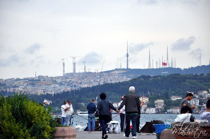 People Hanging out at Bosphorus Waterfront