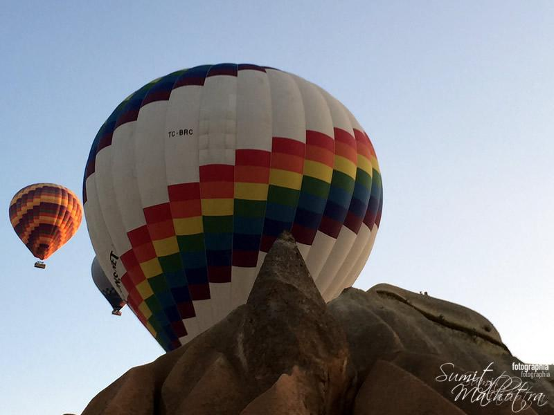 Rock Feature ahead of Balloon. Hot Air Ballooning in Cappadocia