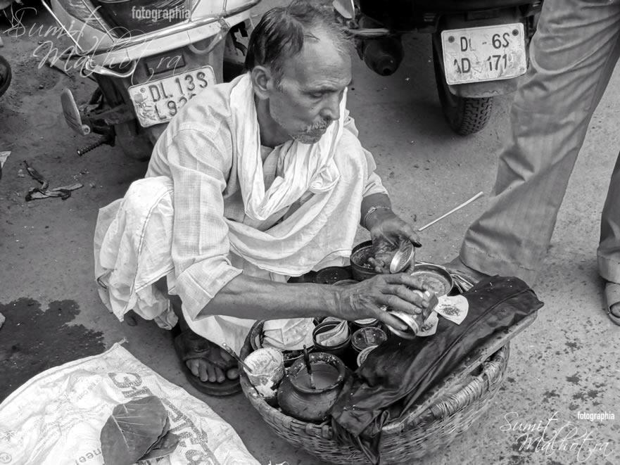 Man with a portable paan shop