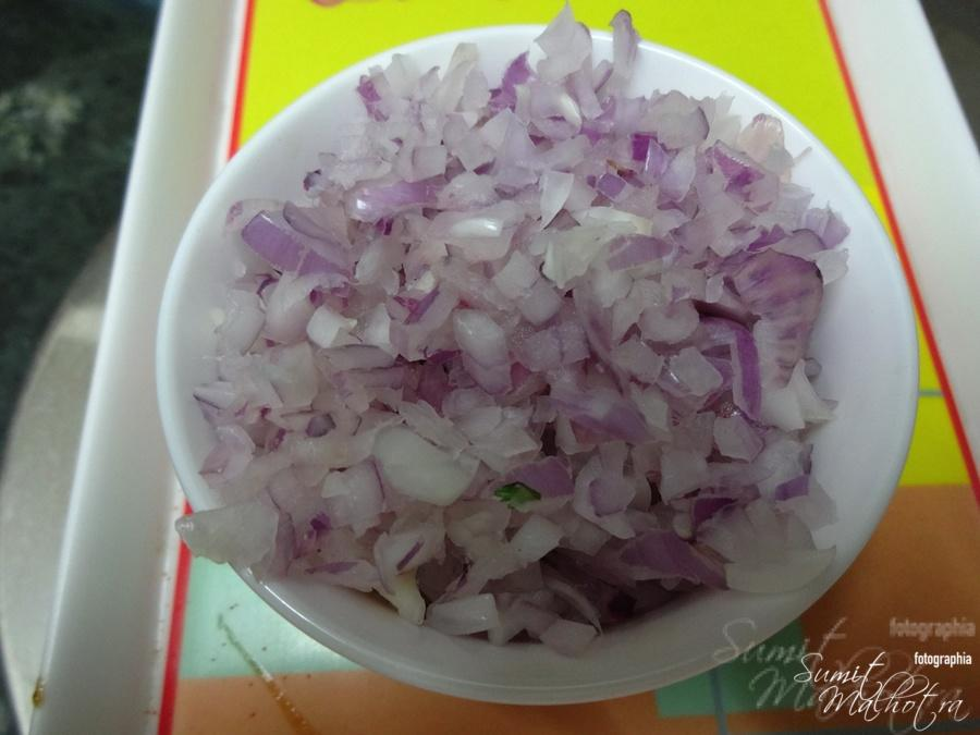 Finely chopped onions