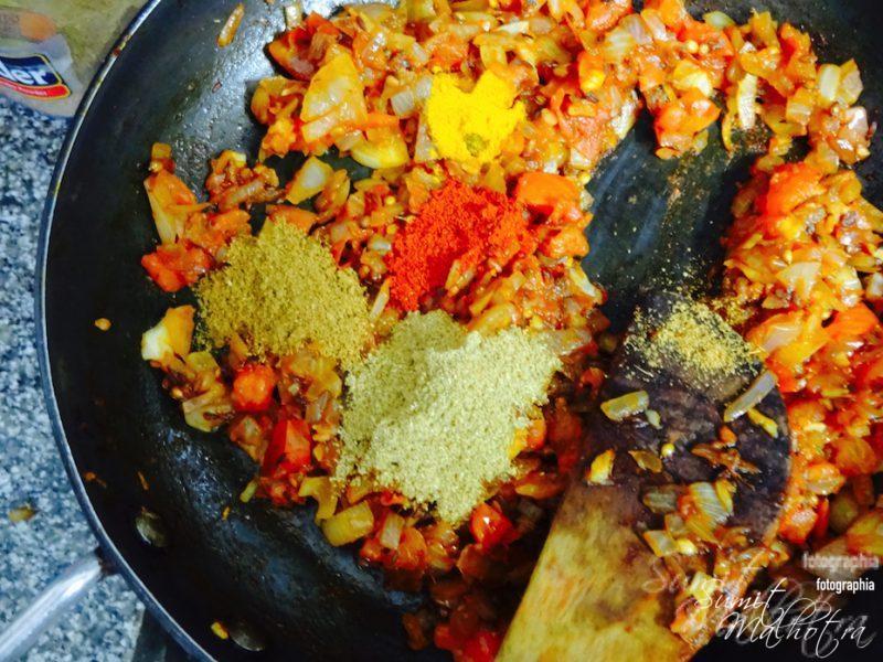Add Powdered Masalas & Cream