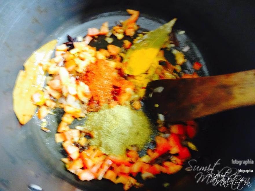 Add powdered spices & salt