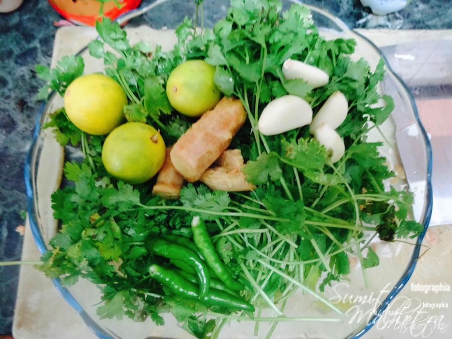 Get lemon, garlic, green chillies and ginger together