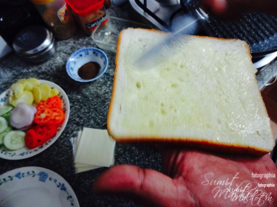 Layer Bread Slice with Butter