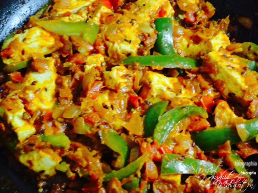 Kadai Paneer or Cottage Cheese with Capsicum is ready