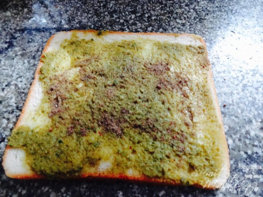 Sprinkle masala on bread