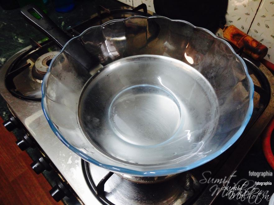 Cover with a bowl to setup your double boiler