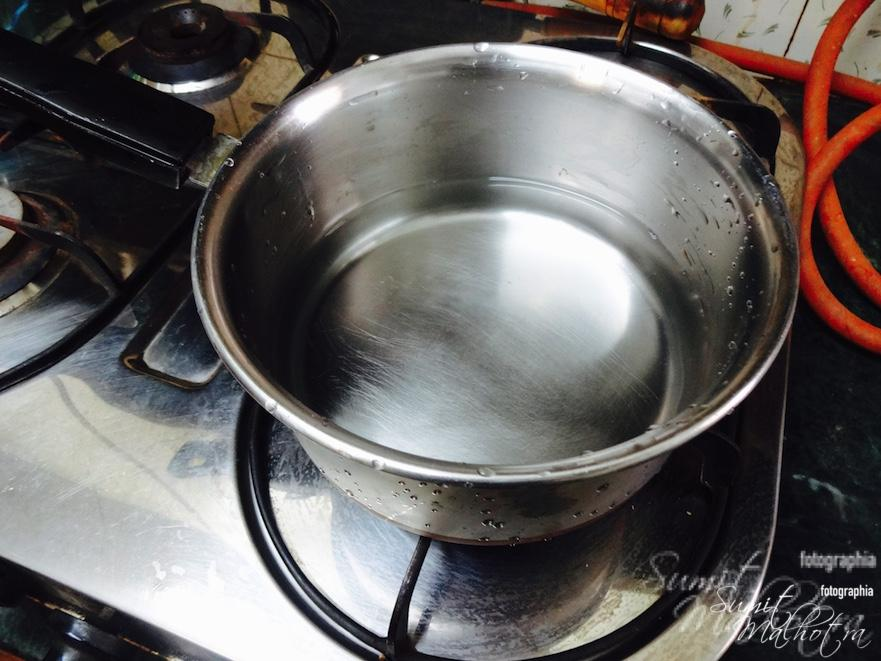 Place a sauce pan with water in it