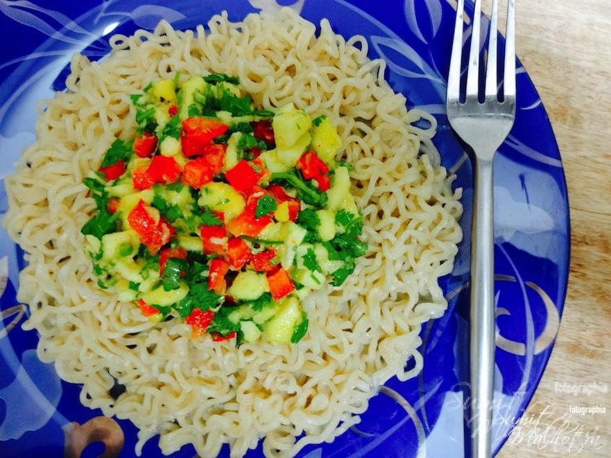 Place mango salsa on top of cooked Maggi noodles