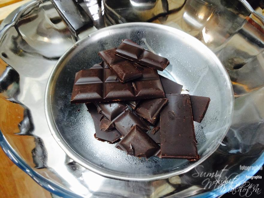 Place on the double boiler