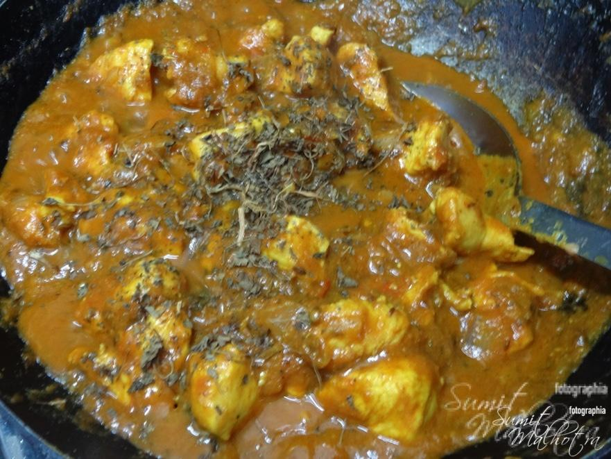 When chicken is almost cooked add kasoori methi