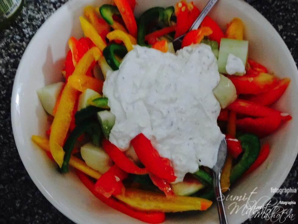 Now, add creamy yogurt dressing