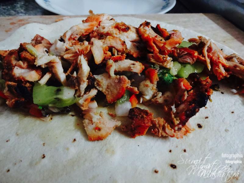 Layer Tortilla with Tandoori Chicken & Kiwi Salsa