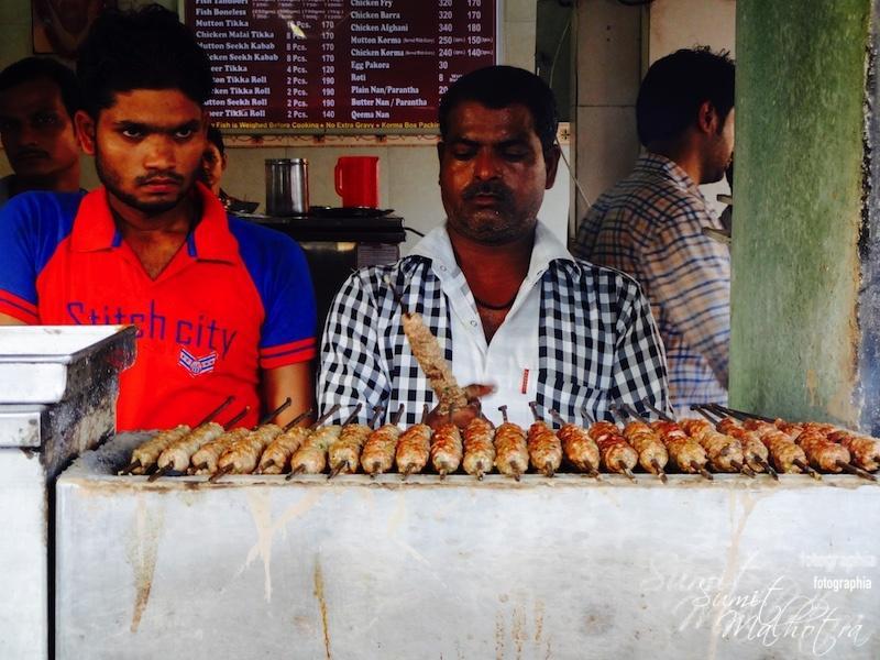 Seekh kebabs going on fire