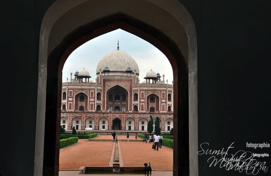Humayun's Tomb seen through the arched gateway