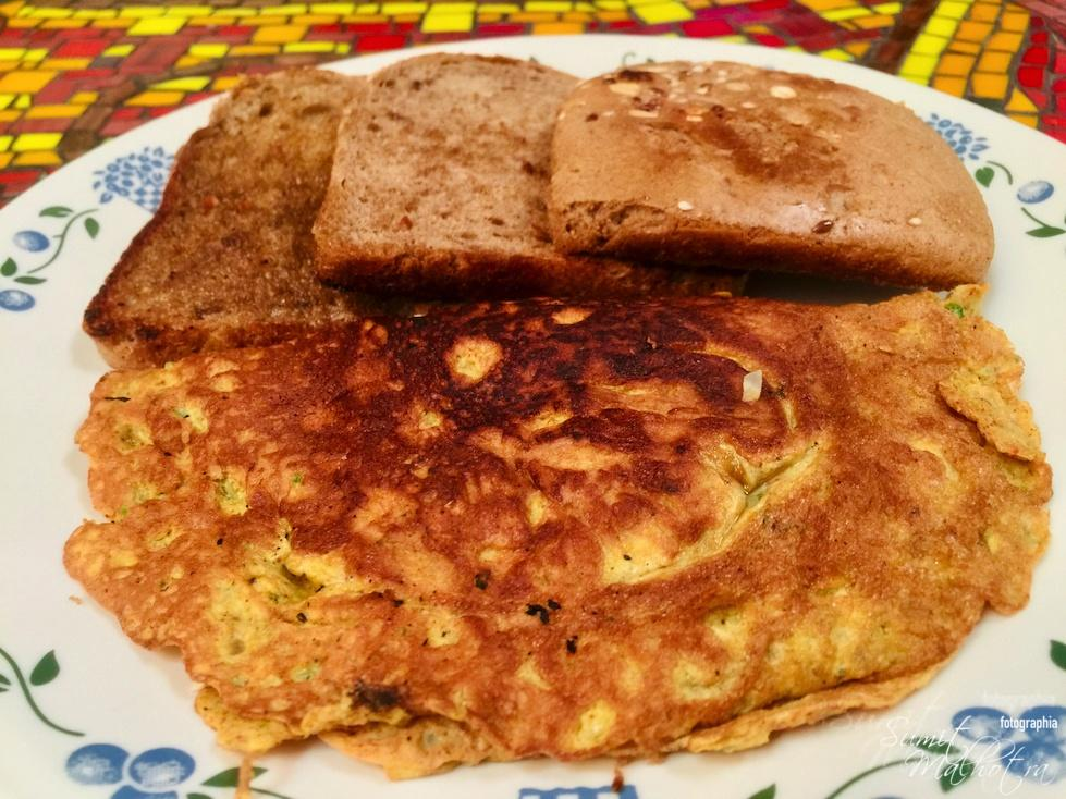 Plate the Indian Masala Omelette with Bread