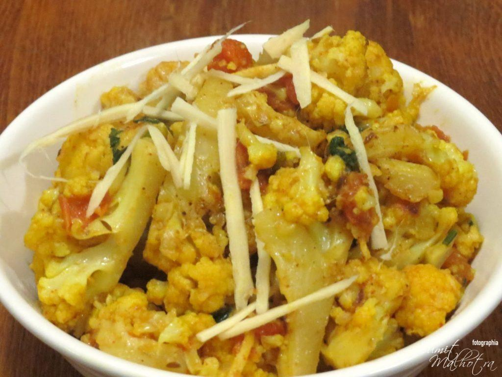 Adraki gobi - ginger cauliflower is ready