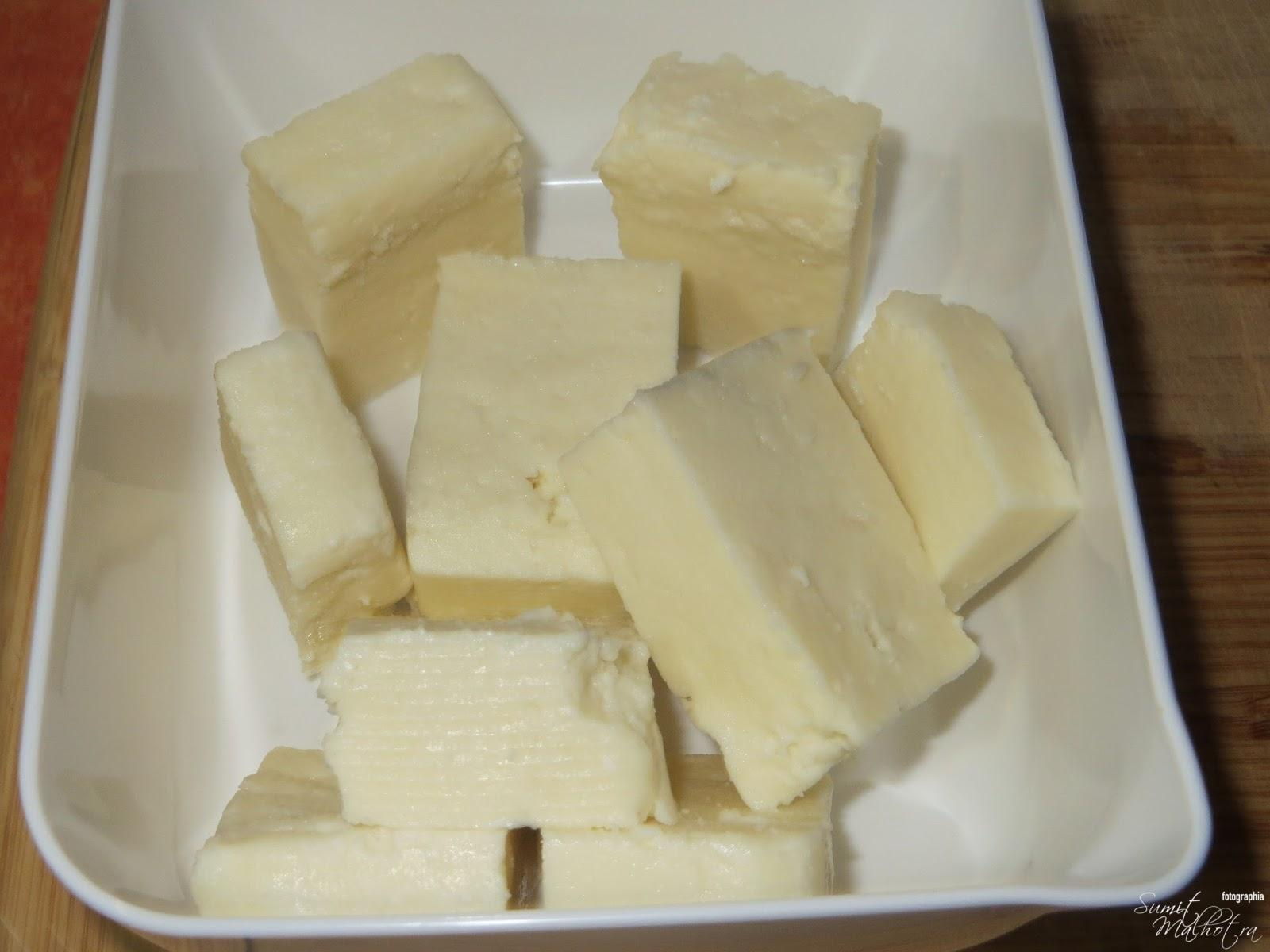 Cut paneer into rectangles