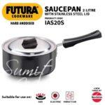 Futura induction hard anodised induction base sauce pan with steel lid and ezee-pour spout, 2 l, small, black