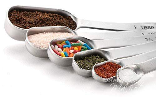 Homepixi Stainless Steel Measuring Spoons Set, Fits in Spice Jar (Set of 6)