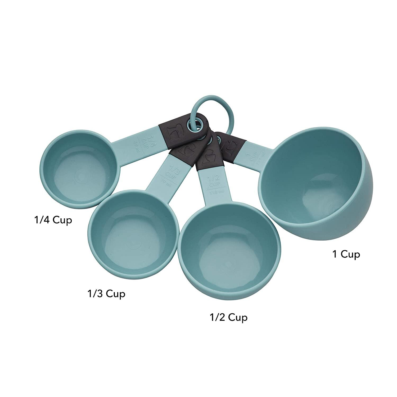 KitchenAid KE058OHAQA Classic Measuring Cups, Set of 4, Aqua Sky:Black