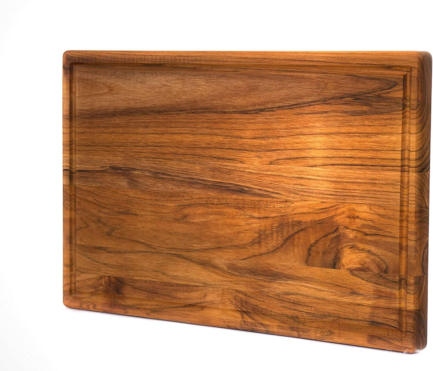 Premium Grade-A Teak Wood Cutting Board Cured with Organic Beeswax, Reversible with Juice Groove