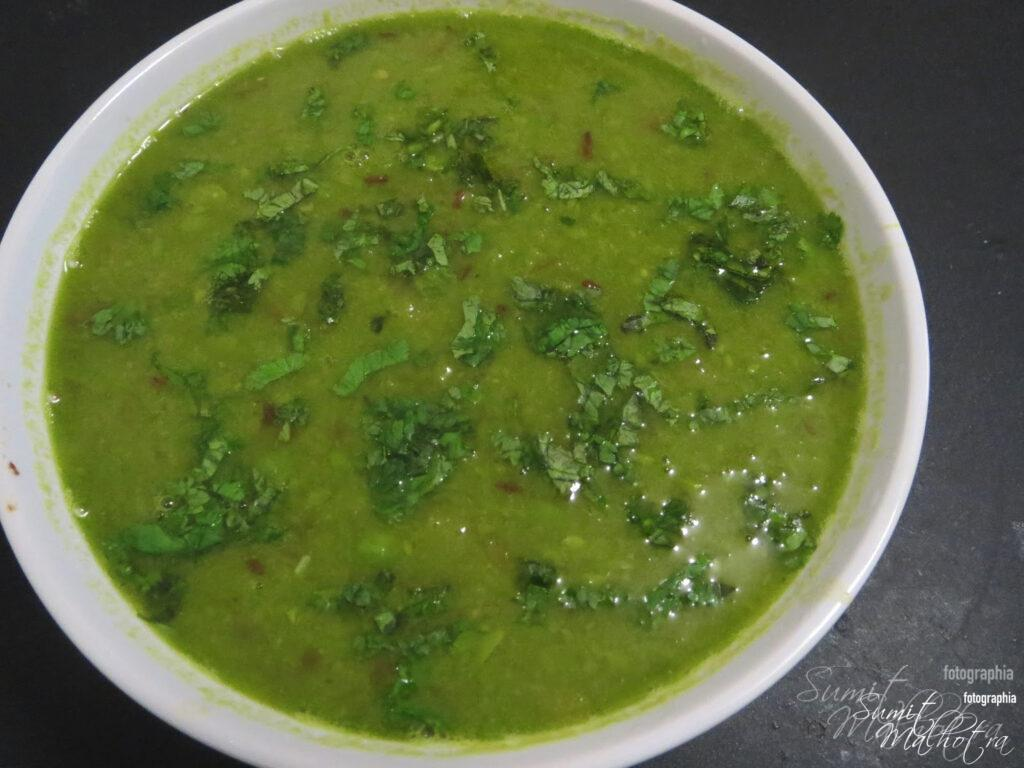 Serve Matar ka Nimona Recipe hot in a bowl and garnish with coriander leaves