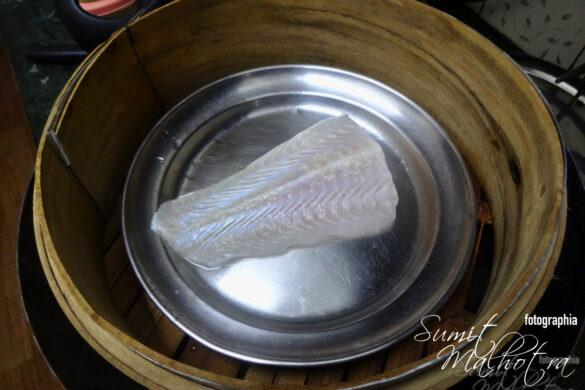Place the Fish on a Plate and Set it in the Bamboo Steamer