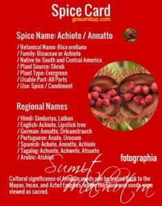 Spice card - all about achiote | know your spice annatto (bixa orellana)