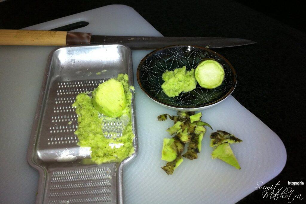 Homemade fresh wasabi paste